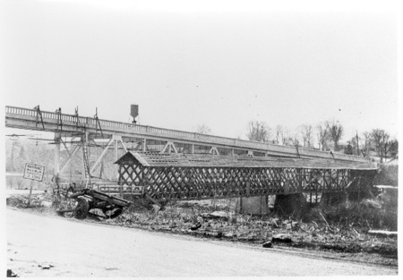 Construction of the new highway bridge, 1929, replaced the old covered bridge at Central Falls.