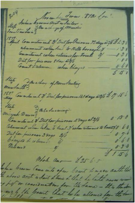 Kostenaufstellung der ersten Gerichtsverhandlung 1810