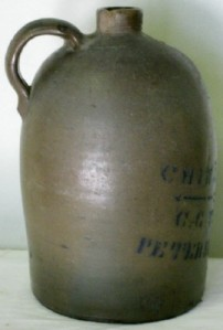 Stoneware jug made by the Taylor pottery in Petersburg, VA.