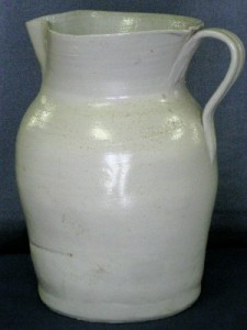 Stoneware milk pitcher (signed), made by my great-grandfather W. Henry Chrisco.