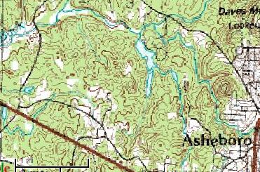 The many 'prongs' of Back Creek south of Dave's Mountain