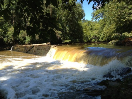 Lassiter Mill Dam on the Uwharrie, destroyed 9-4-2013 to open the river to the annual shad run.