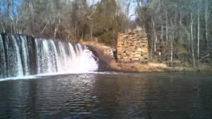 Worthville Dam with bridge abutment