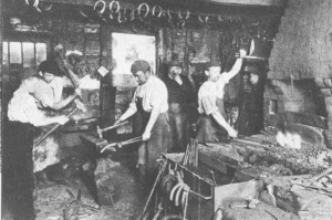 Blacksmith and apprentices