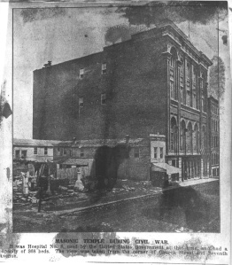 Nashville's Masonic Temple was one of the 3 buildings that made up Hospital No. 8.  It had 368 beds.