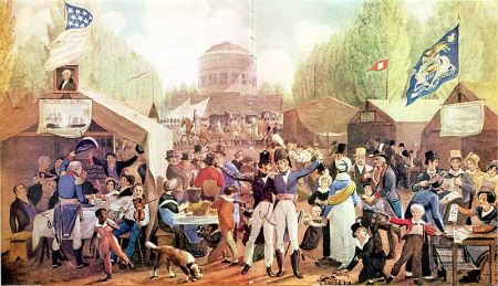 "John Lewis Krimmel, ""Fourth of July Celebration in Centre Square"", 1819. The Historical Society of Pennsylvania."